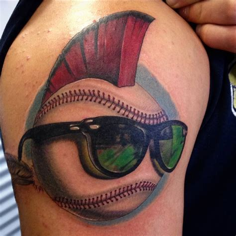 baseball tattoos funky baseball with hair sunglasses truetattoos