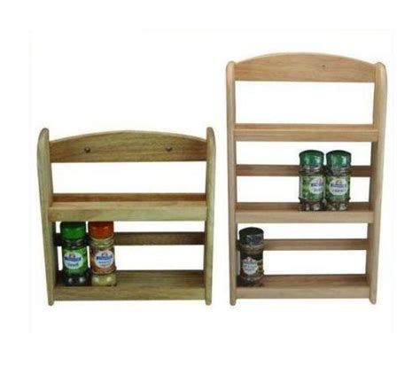 wooden spice rack jar holder stand wall mounted