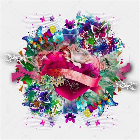 immagini farfalle e fiori cuore con fiori e farfalle foto stock 169 valik4053022
