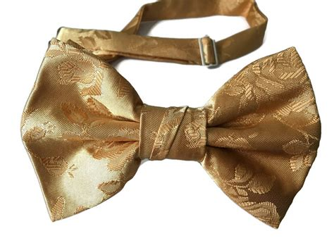 Handcrafted Bow Ties - handmade pre bow tie gold satin jacquard
