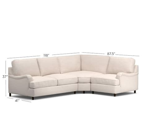 pb comfort arm upholstered 3 sectional with