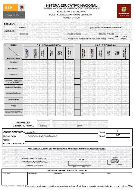 boleta de calificaciones 2015 2016 secundaria formato de boletas de calificaciones de secundaria 2016