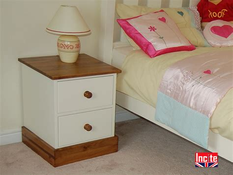 Handmade Bedroom Furniture Uk - painted and solid pine 2 drawer bedside incite interiors