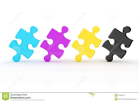 colorful puzzle pieces 3d colorful cmyk puzzle pieces stock image image 27654671
