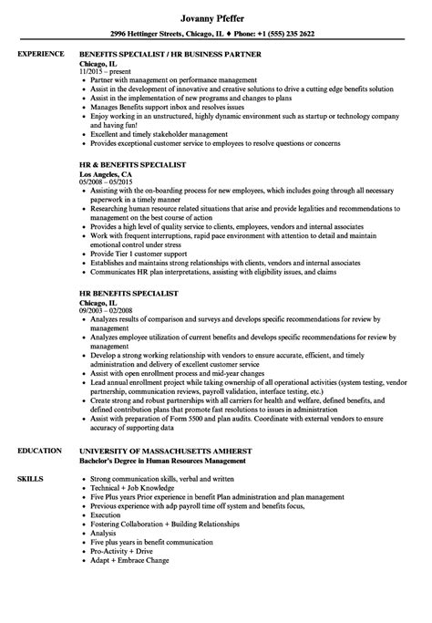 benefits specialist resume sle hr benefits specialist resume sles velvet