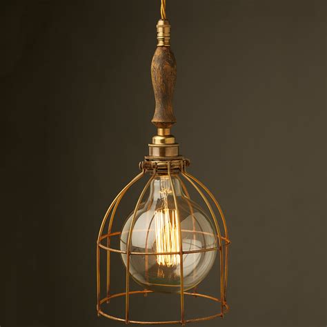 Brass Trouble Light Cage Pendant Wooden Handle Wooden Light Pendants