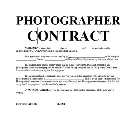 photographer contracts templates photography contract sle contracts contract
