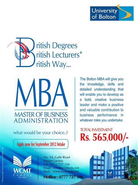 Of Colombo Mba Programme by Of Bolton Mba In Srilanka Rs 565 000 00