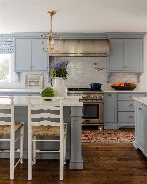 blue gray kitchen cabinets blue gray kitchen cabinets with antique brass hardware