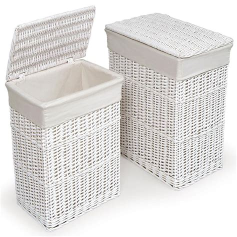 large medium rectangular white wicker laundry basket w