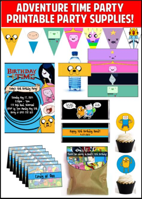 adventure time printable party decorations adventure time party printables editable partygamesplus