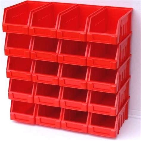 20 red size 2 stacking plastic parts storage bins garage