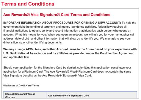 Sle Credit Card Terms And Conditions How To Apply For The Ace Rewards Visa Credit Card