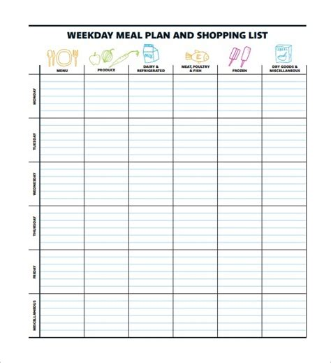 weight watchers menu planner template 45 printable weekly meal planner templates baby