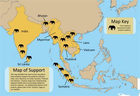map live where do elephants live map