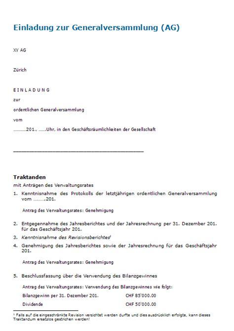 Muster Einladung Vorstellungsgespräch Einladung Generalversammlung Ag Muster Zum