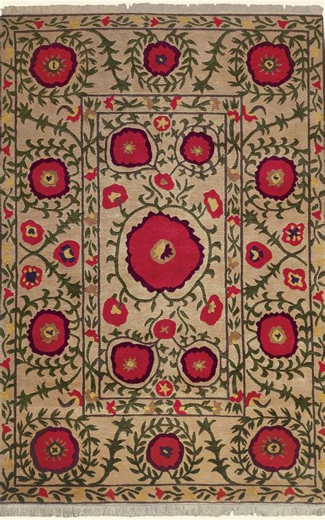 Poppies Rug by Poppies Beige Tibetan Knotted Rug From The Tibetan
