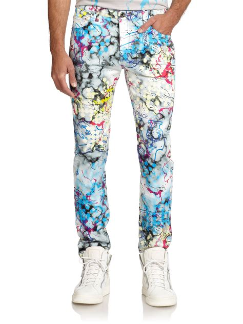 versace patterned jeans versace jeans marble printed slim fit jeans for men lyst