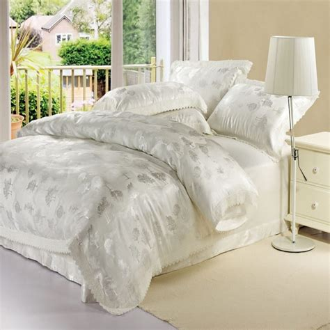 white luxury bedding luxury white jacquard satin tribute silk bedding set queen
