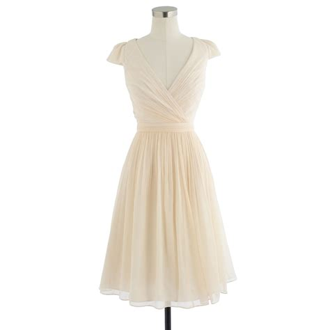 Dress Mirabelle j crew mirabelle dress in silk chiffon in gold chagne lyst