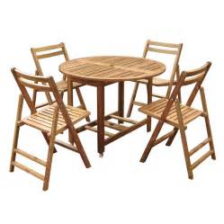 patio table sets folding outdoor: vineyard teak folding round table and chairs set