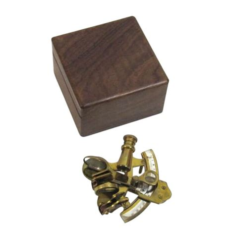 sextant box aged brass sextant wooden box nautical decor