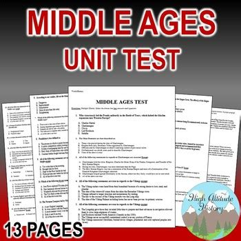 Middle Ages Unit Test Exam Assessment World History