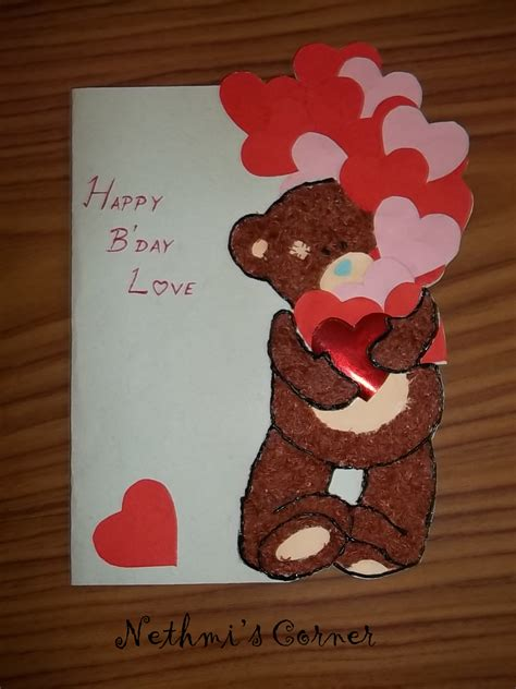 Handmade Cards For Boyfriend - my teddy birthday card nethmi s corner