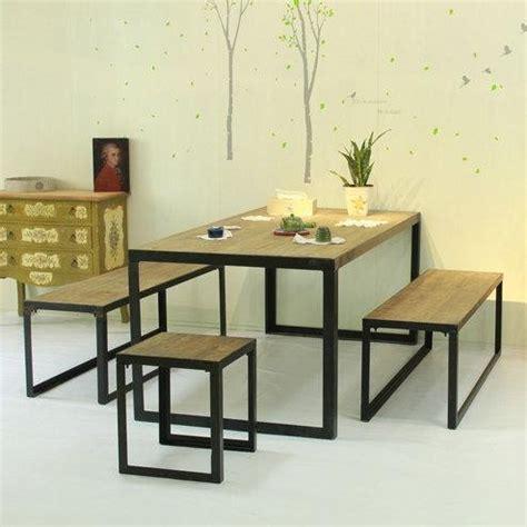Meja Makan Cafe Kotak Minimalis set meja makan minimalis kayu kombinasi besi bangket