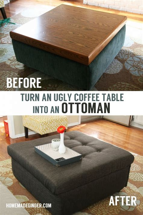 how to make a coffee table into an ottoman turn an ugly coffee table into an diy ottoman homemade