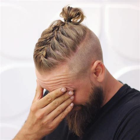 hair cuts men long hair shaved side bun men long hairstyles with beards men braided bun with beard