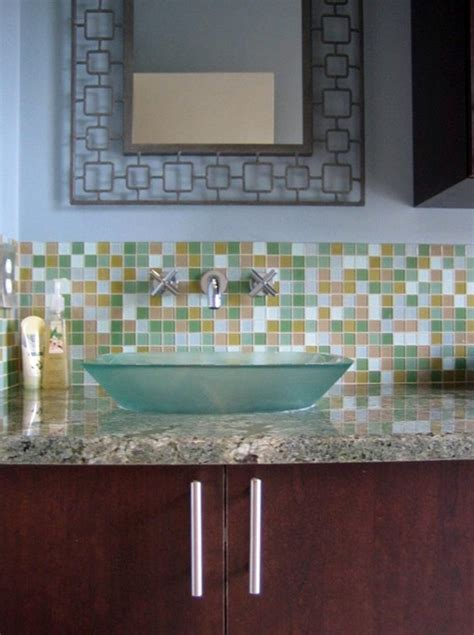 glass tile backsplash ideas bathroom glass tile bathroom backsplash decozilla