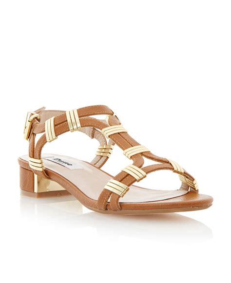 dune heels sandals dune faith buckle block heel sandals in brown lyst