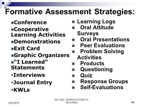 formative assessment strategies assessment course ed 1203 introduction to teaching course