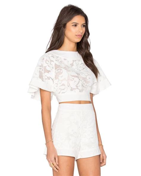 906 Pevita Back Lace Top aguadecoco lace open back top cover up in white save 35 lyst