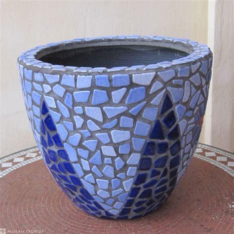 Blue Garden Pots Plant Pot Made From Broken Ceramic Tiles Diy Handmade Gift