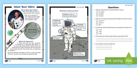 neil armstrong biography for ks2 ks1 edwin buzz aldrin differentiated reading comprehension