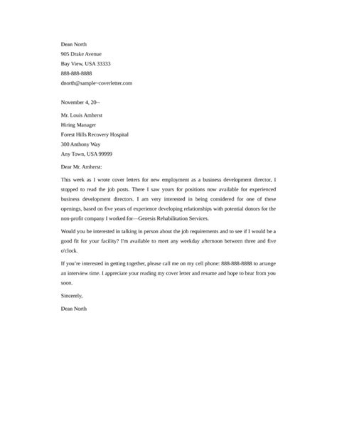 Cover Letter Sles For International Development by Sle Cover Letter Director Of Development Business