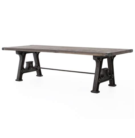 Grey Reclaimed Wood Dining Table Boone Industrial Large Reclaimed Grey Wood Cast Iron Dining Table 106 In Kathy Kuo Home