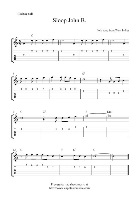 printable sheet music guitar free guitar tablature sheet music notes sloop john b