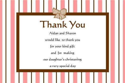 Thank You Letter To Confirmation Personalised Christening Thank You Cards 2
