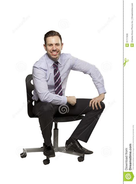inviting business sitting on chair stock photo image