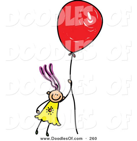 balloon doodle vector free vector clipart of a childs sketch of a happy floating