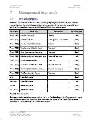 testplan template test plan ms word excel template