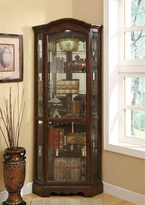 elegant brown corner curio cabinet