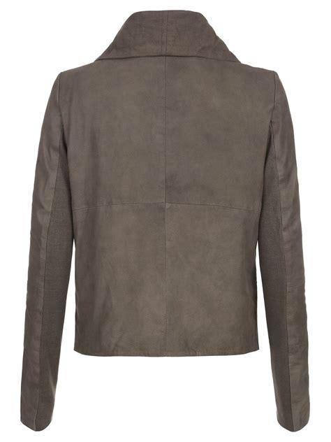 leather drape jacket sinoia suede drape jacket in hard grey