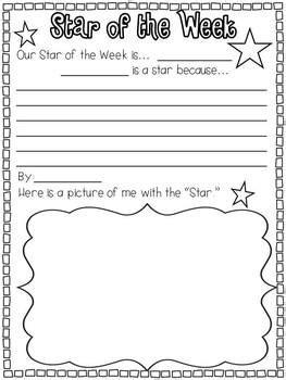 printable star of the week form weekend news star of the week word of the day and word