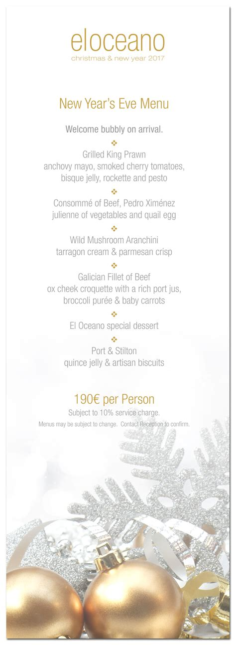 new year 2017 menu new year 2017 menus el oceano hotel