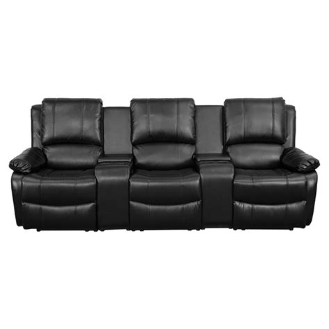 3 seat leather recliner allure series 3 seat leather recliner black cup holders