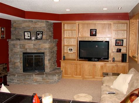 lakeville basement project fireplace modern